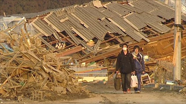 Earthquake survivors in Minamisanriku