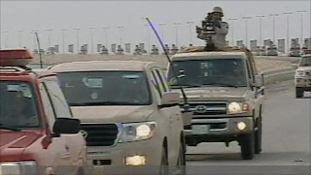 Saudi troops on Causeway towards Bahrain today