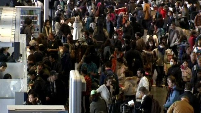 Crowds at Narita Airport