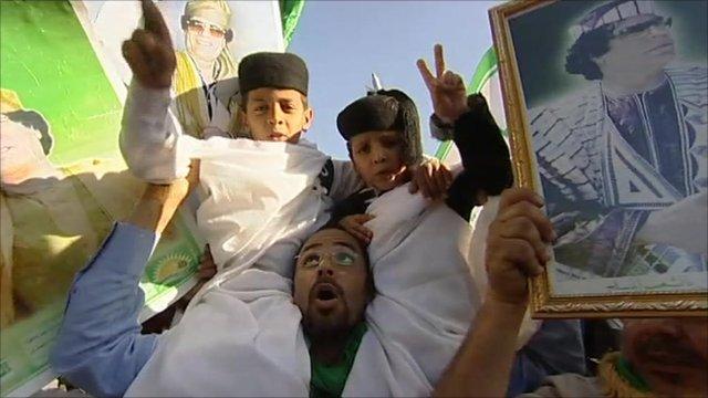 Pro-Gaddafi gathering in Tripoli