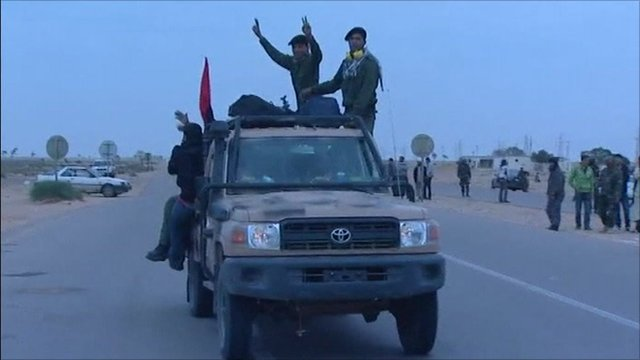 Libyan rebels celebrating UN resolution