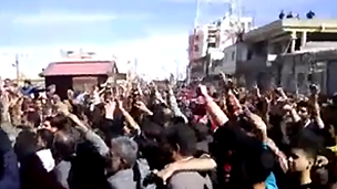 Protest in Deraa, 18 March (YouTube footage)
