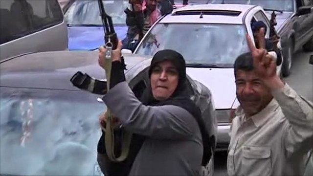 Rebels celebrating in Benghazi