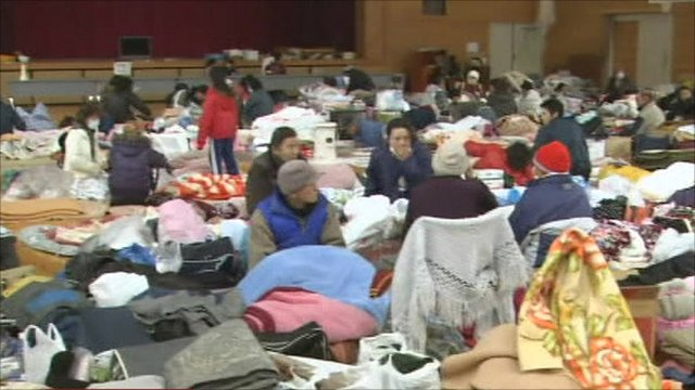 Japanese people at a refuge