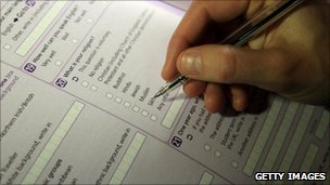 A man fills in a census form