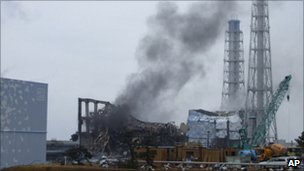 Smoke rising from Fukushima Daiichi nuclear plant