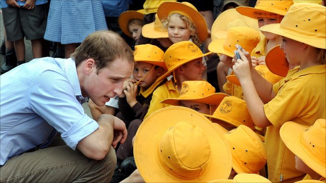 Prince William meets Australian schoolchildren
