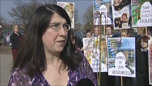 Jackie Eames and student protesters
