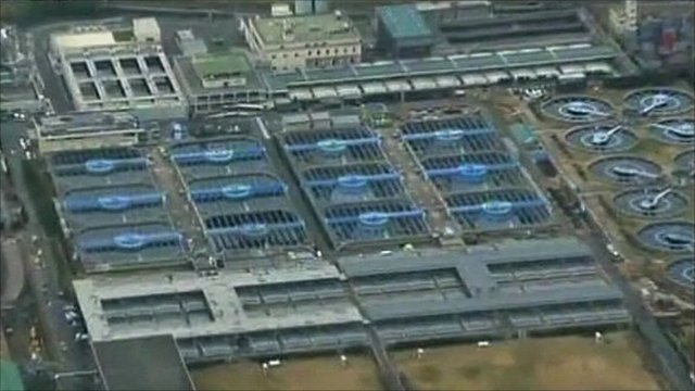 Aerial video of water treatment plant in Tokyo