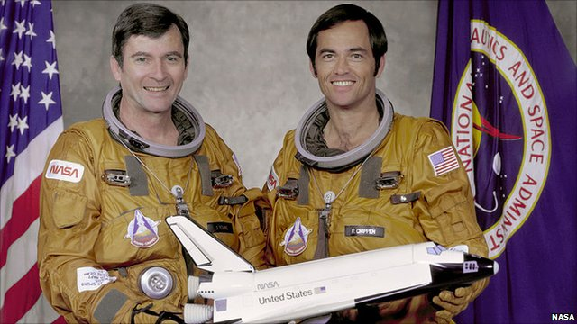 Columbia crew John Young and Bob Crippen with a model of the shuttle
