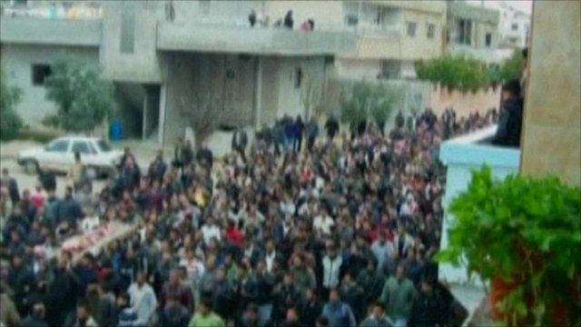 Protest crowds reportedly in Syria