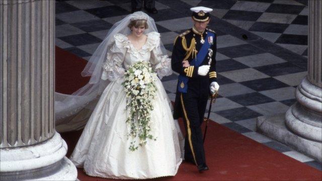 Princess Diana and Prince Charles outside St Pauls Cathedral