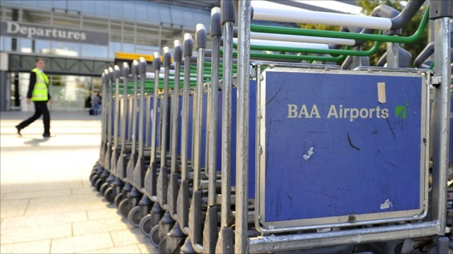 Luggage trollies at a BAA airport