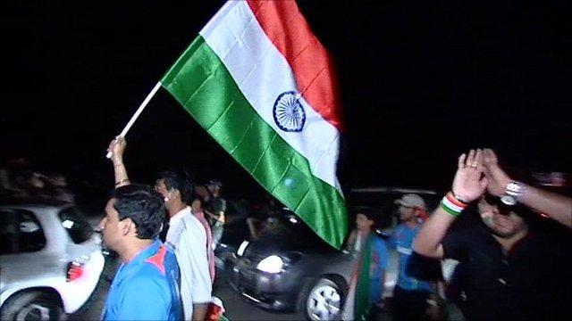 Indian fans celebrate