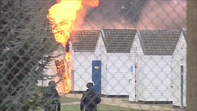 Building ablaze at Ford Prison 1st Jan 2011
