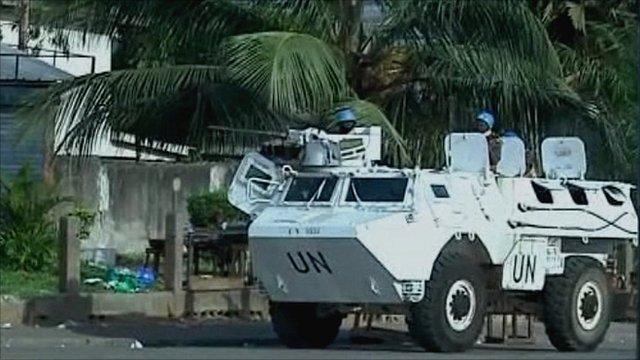 United Nations troops patrol Abidjan
