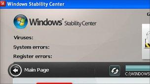 Screenshot of fake security software, Websense