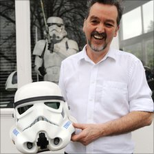 Andrew Ainsworth with a Stormtrooper helmet