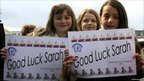 Children from Whissendine Primary School wish Sarah Outen luck at Tower Bridge, on 1 April 2011