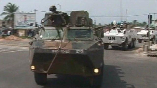 UN vehicles in Ivory Coast