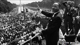 "Martin Luther King Jnr during his ""I have a dream' speech at the Lincoln Memorial in 1963"