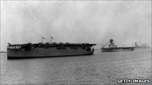 HMS Hermes and HMS Argus at Spithead review in 1924