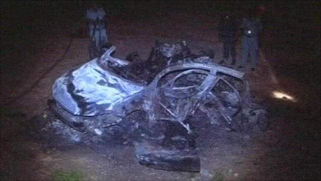 Sudan air strike car wreckage
