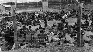 Mau Mau suspects in a prison camp in Kenya in 1952.