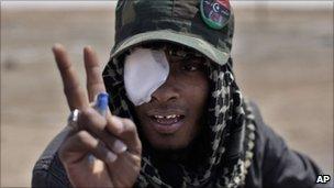 A Libyan rebel fighter in Ajdabiya, Libya.