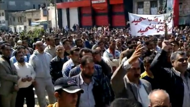 Syrians gathered to protest