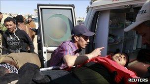 Injured rebel in Ajdabiya, 10 April