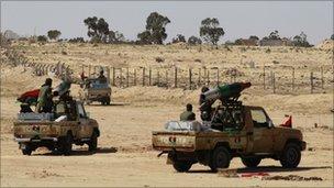 Rebel forces near Ajdabiya, 10 April