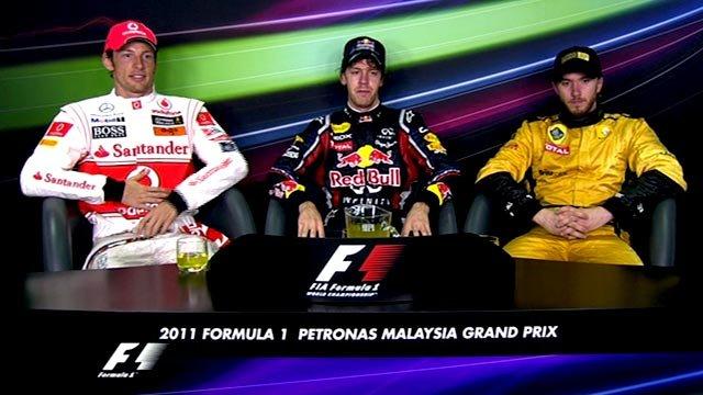 Jenson Button, Sebastian Vettel and Nick Heidfeld