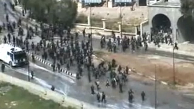 Screen grab from video on the internet that appears to show protesters and security forces