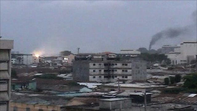 Smoke rises from Abidjan as explosion is seen
