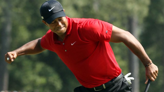 Tiger Woods celebrates at the Masters