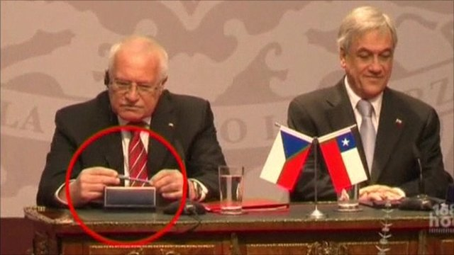 Czech President Vaclav Klaus sitting next to his host Chile President Sebastian Pinera
