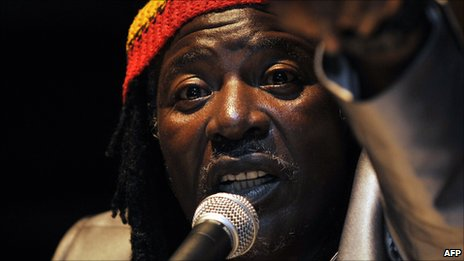 Ivorian reggae star Alpha Blondy at a press conference in Abidjan in April 2010. Photo by Kambou Sia/AFP/Getty Images