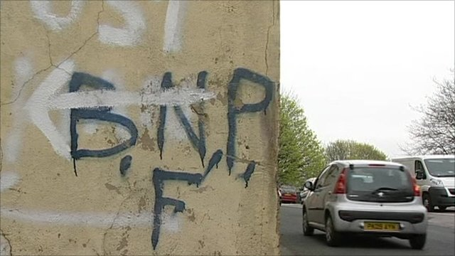 Wall with BNP graffiti