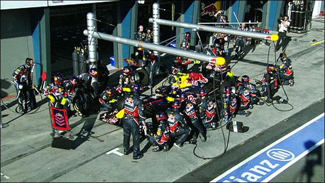 The Red Bull pit crew in action