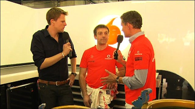Jake Humphrey, McLaren's Paul James and David Coulthard