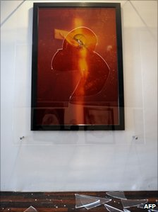 The partially damaged artwork Piss Christ in Avignon, southern France, 18 April 2011