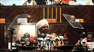 Sudan's President Omar al-Bashir addresses Parliament in Khartoum, 4 April 2011