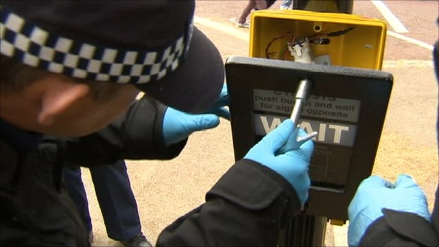 Police opening a traffic signal box