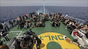 Evacuees being taken by ship to Benghazi, Libya (21 April 2011)