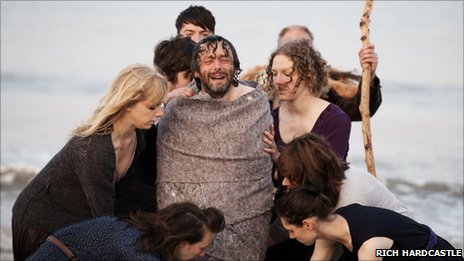 Michael Sheen in one of the opening scenes of the weekend-long Passion, at Aberavon on Friday Photo: Rich Hardcastle