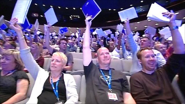 Members of the NUT voting on the ballot for strike action