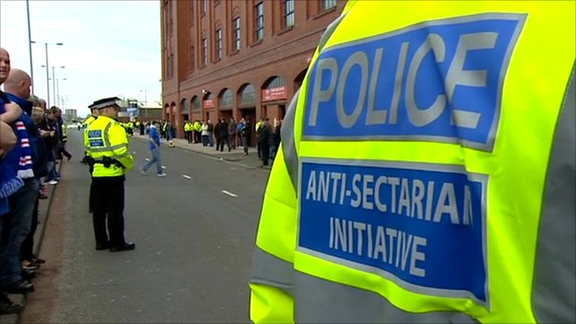 Police jacket labelled 'anti-sectarian initiative'