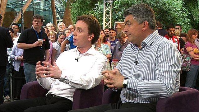 BBC snooker pundits Ken Docherty and John Parrot