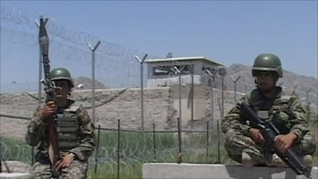Afghan guards outside jail